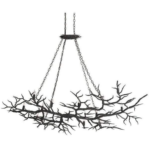 Currey and Company Rainforest Bronze Chandelier 9007