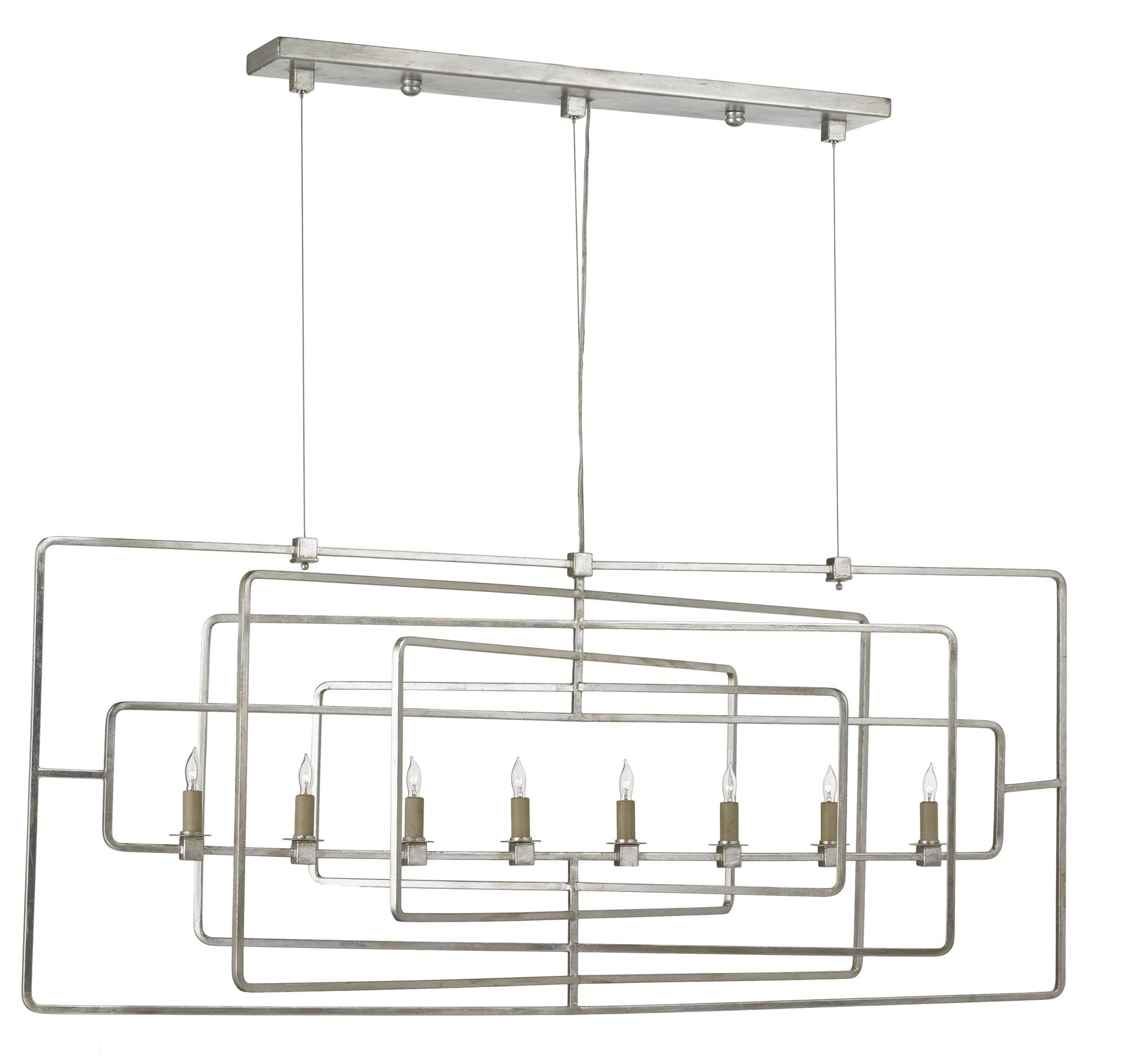 Currey and Company Metro Rectangular Chandelier Silver Leaf 9836 - LOVECUP