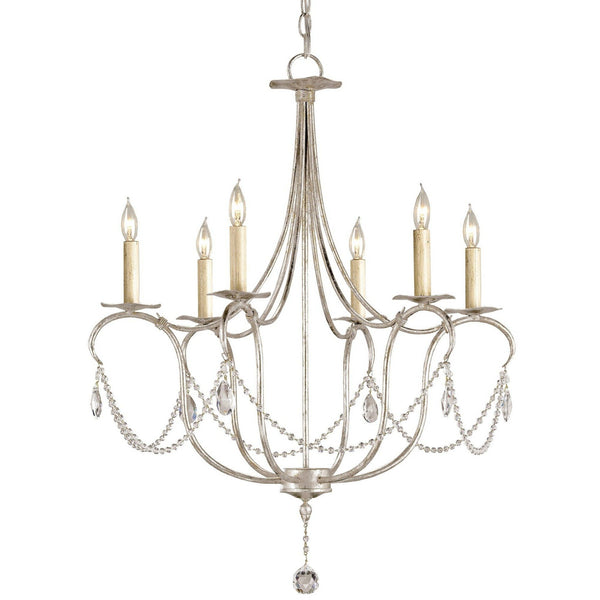 Currey and Company Crystal Lights Silver Small Chandelier 9890