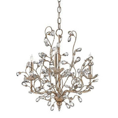 Currey and Company Crystal Bud Chandelier, Silver Small 9974 - LOVECUP
