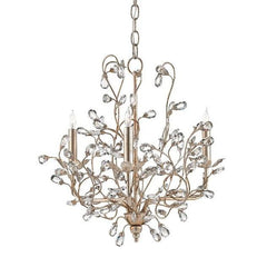 Currey and Company Crystal Bud Chandelier, Silver Small - LOVECUP - 1