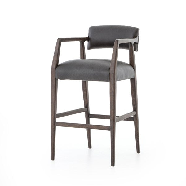 Rylie Black Top Grain Leather Bar Stool LT74