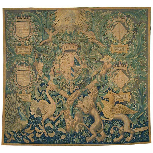 "76"" x 70"" Hand woven aubusson tapestry with backing and rod pocket."