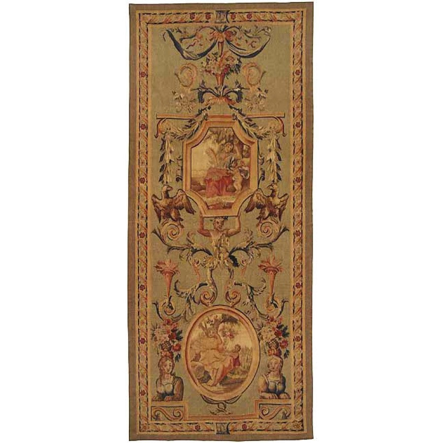 "35"" x 86"" Hand woven aubusson tapestry with backing and rod pocket."