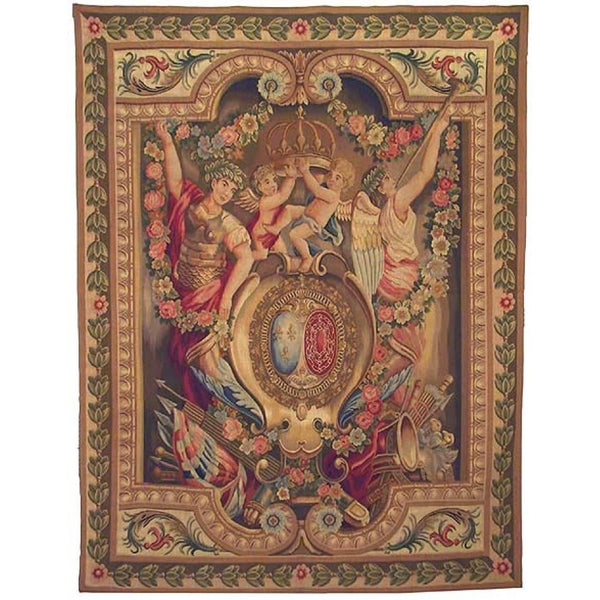 "65"" x 85"" Hand woven aubusson tapestry with backing and rod pocket."