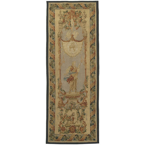 "29"" x 76"" Hand woven aubusson tapestry with backing and rod pocket."