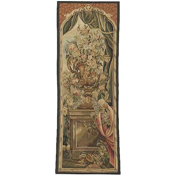 "24"" x 64"" Hand woven aubusson tapestry with backing and rod pocket."