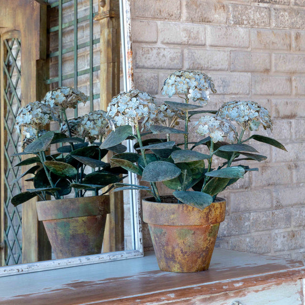 Vintage Metal Hydrangea Potted