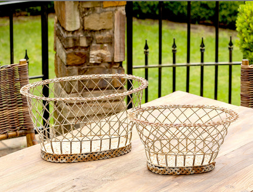 Lovecup French Country Braided Wire Baskets, Set of 2 L887