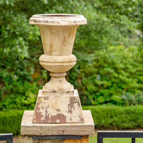 Lovecup Antique White and Weathered Rust Aged Metal Urn, Set of 2 L972
