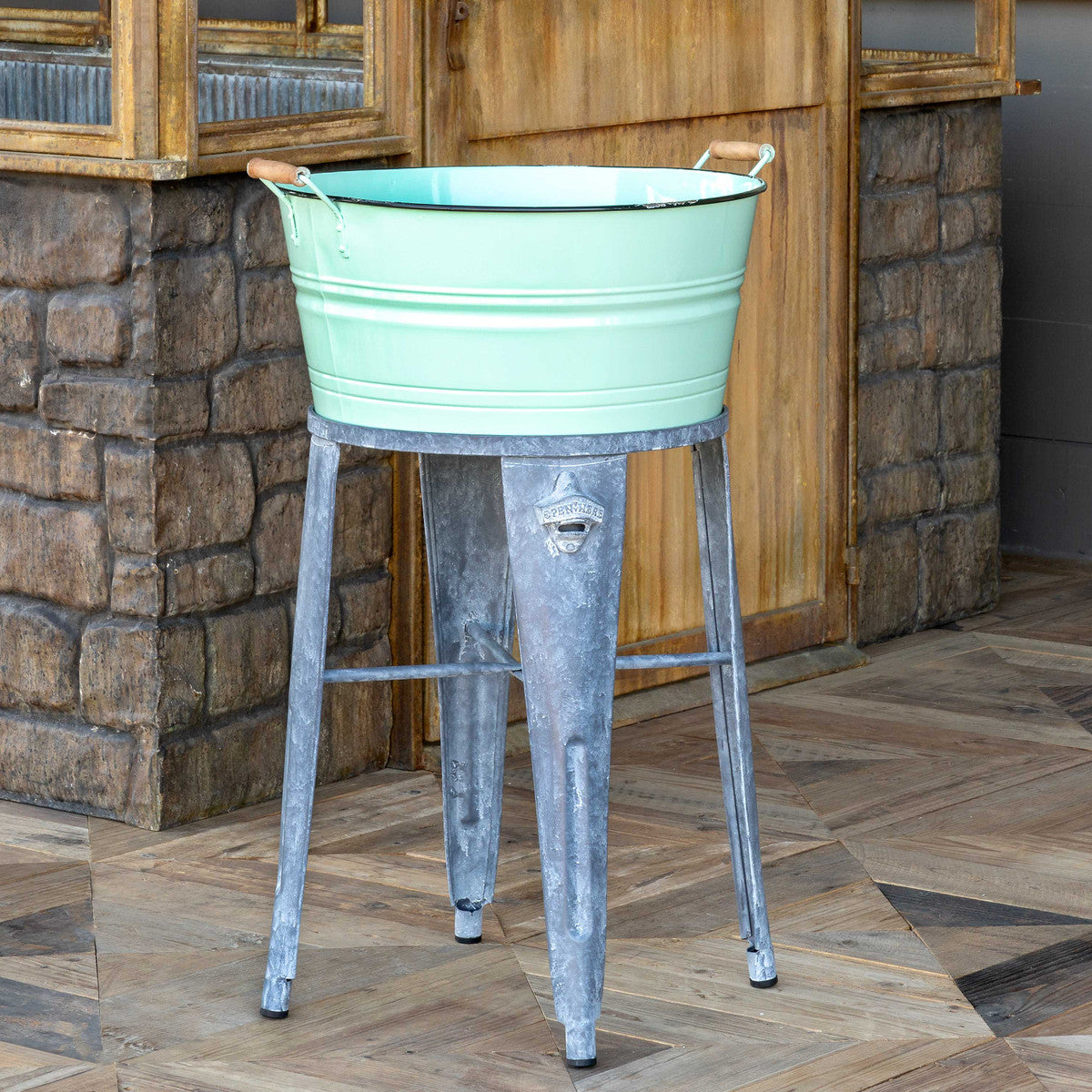 Lovecup Vintage Farmhouse Wash Tub Cooler in Sea Foam Green Color L766