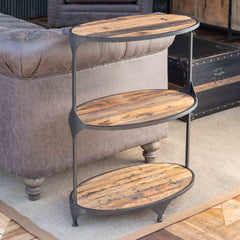 Lovecup Oblong Metal and Reclaimed Wood Side Table L422