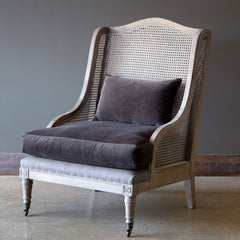 Lovecup Cane Back Wing Chair With Velvet Cushion L046