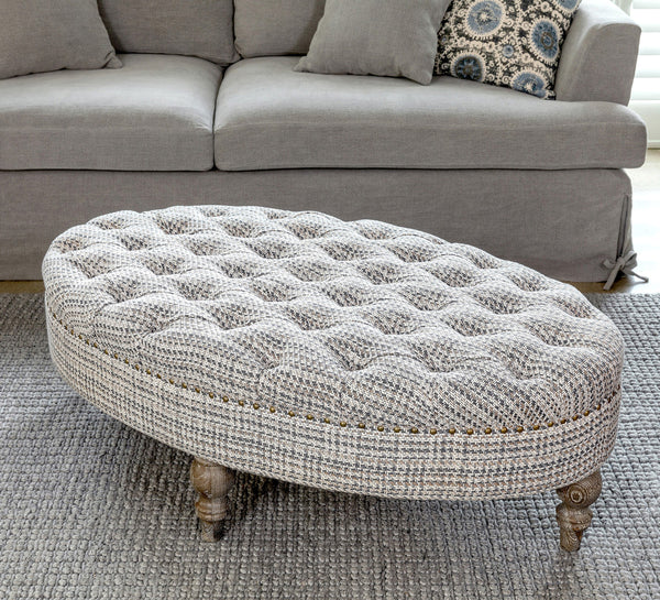 Lovecup Tufted Tweed Fabric Oval Ottoman L109