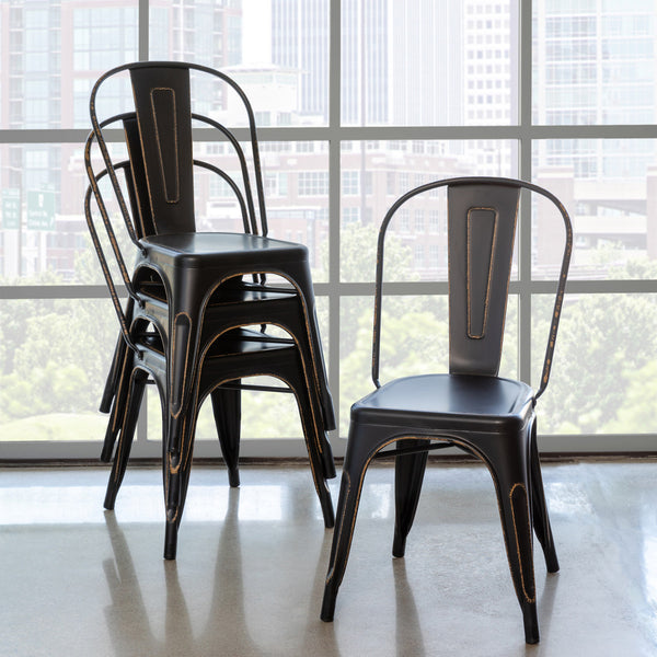 Lovecup Antique Black Metal Bistro Chair, SET OF 2 L071