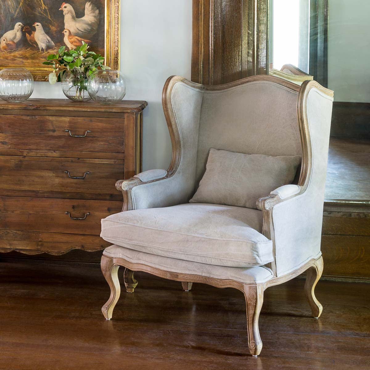Lovecup Farmhouse Wingback Chair L656