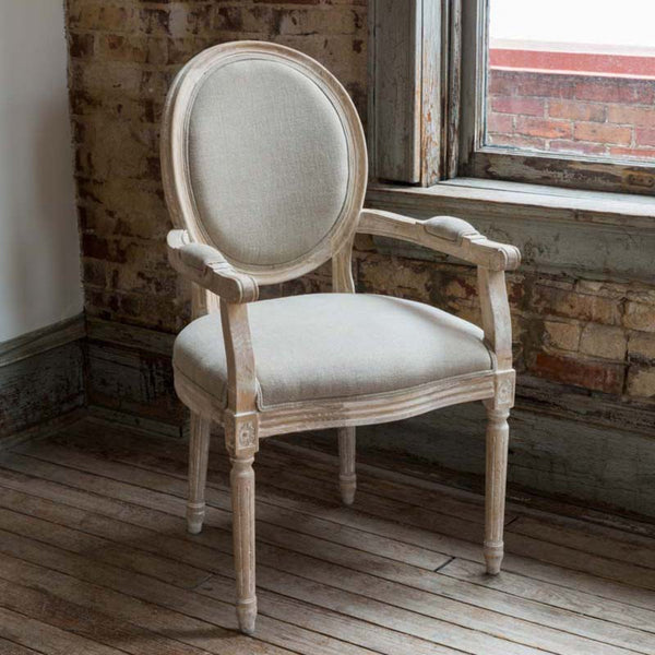 Lovecup White Washed Dining Arm Chair L666