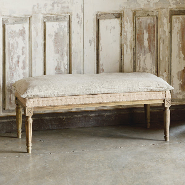 Lovecup French Country Burlap & Distressed Pillow Bench L670
