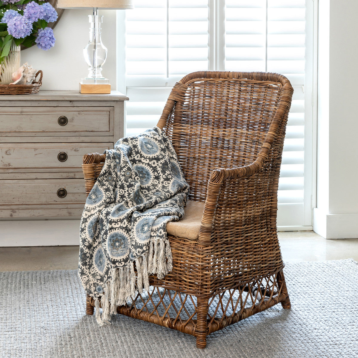 Lovecup Rattan Terrace Chair With Burlap Cushion L146 Lovecup