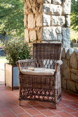 Lovecup Vintage Finished Rattan Chair with a Burlap Padded Cushion L155