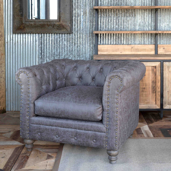 Lovecup Distressed Leather Mule Club Chair L270