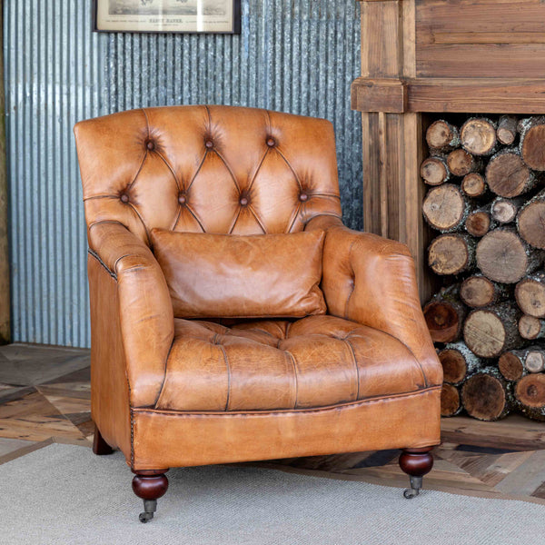 Lovecup Caramel Tufted Leather Club Chair L699