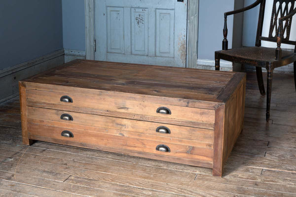 Lovecup Old Pine Map Drawer Coffee Table L583