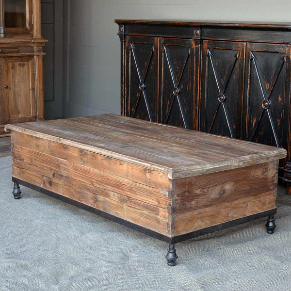 Lovecup Footed Old Pine Trunk Coffee Table L585