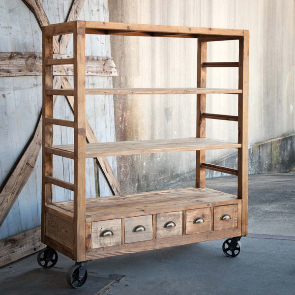 Lovecup Aged Pine Farmhouse Rolling Shelves L937