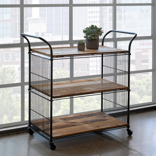 Lovecup Metal and Wood Kitchen Cart L200
