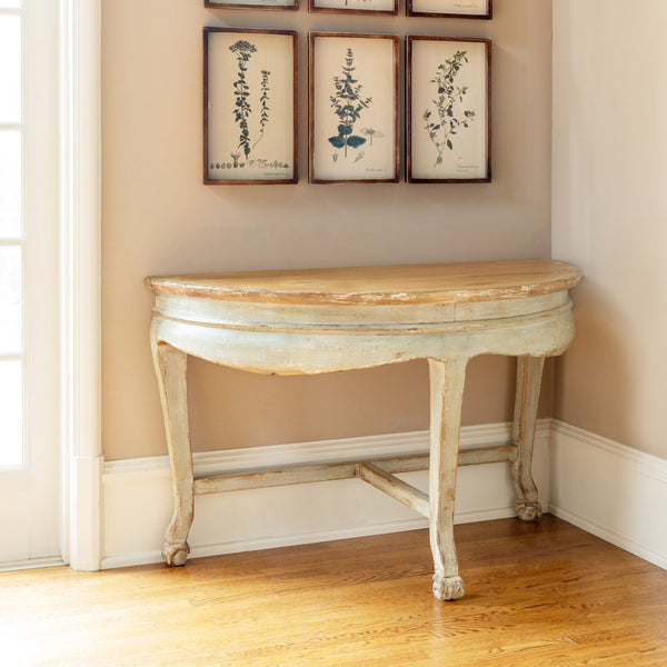 Lovecup Aged Farmhouse Demilune Console Table L475