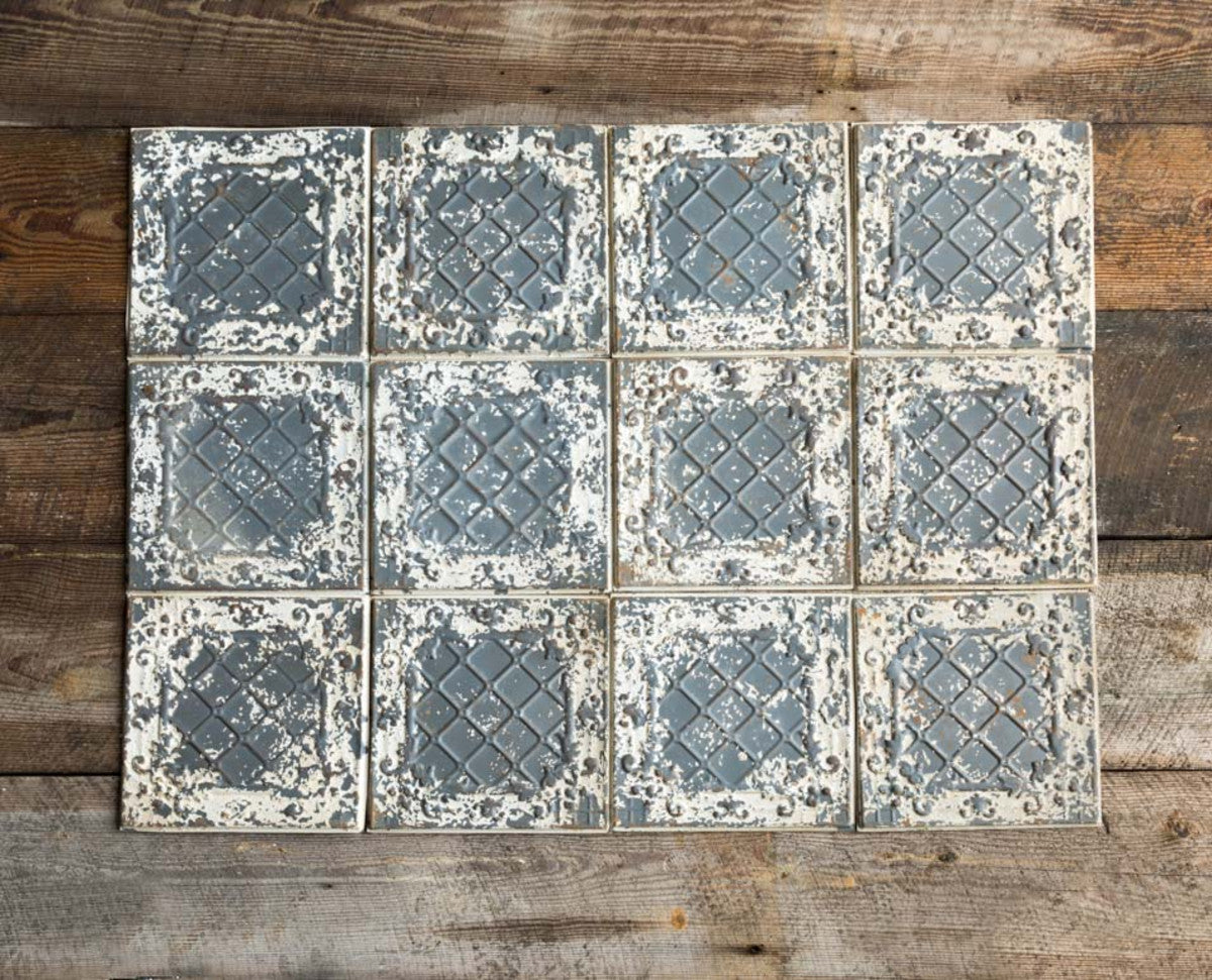 Lovecup Antique White Tin Ceiling Tile, Set of 16 L923