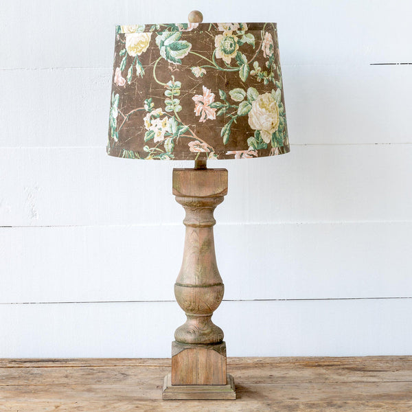 Lovecup Wooden Table Lamp with Flowered Shade L039
