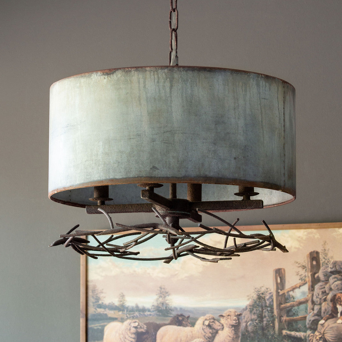 Lovecup Twig and Metal Farmhouse Chandelier L160