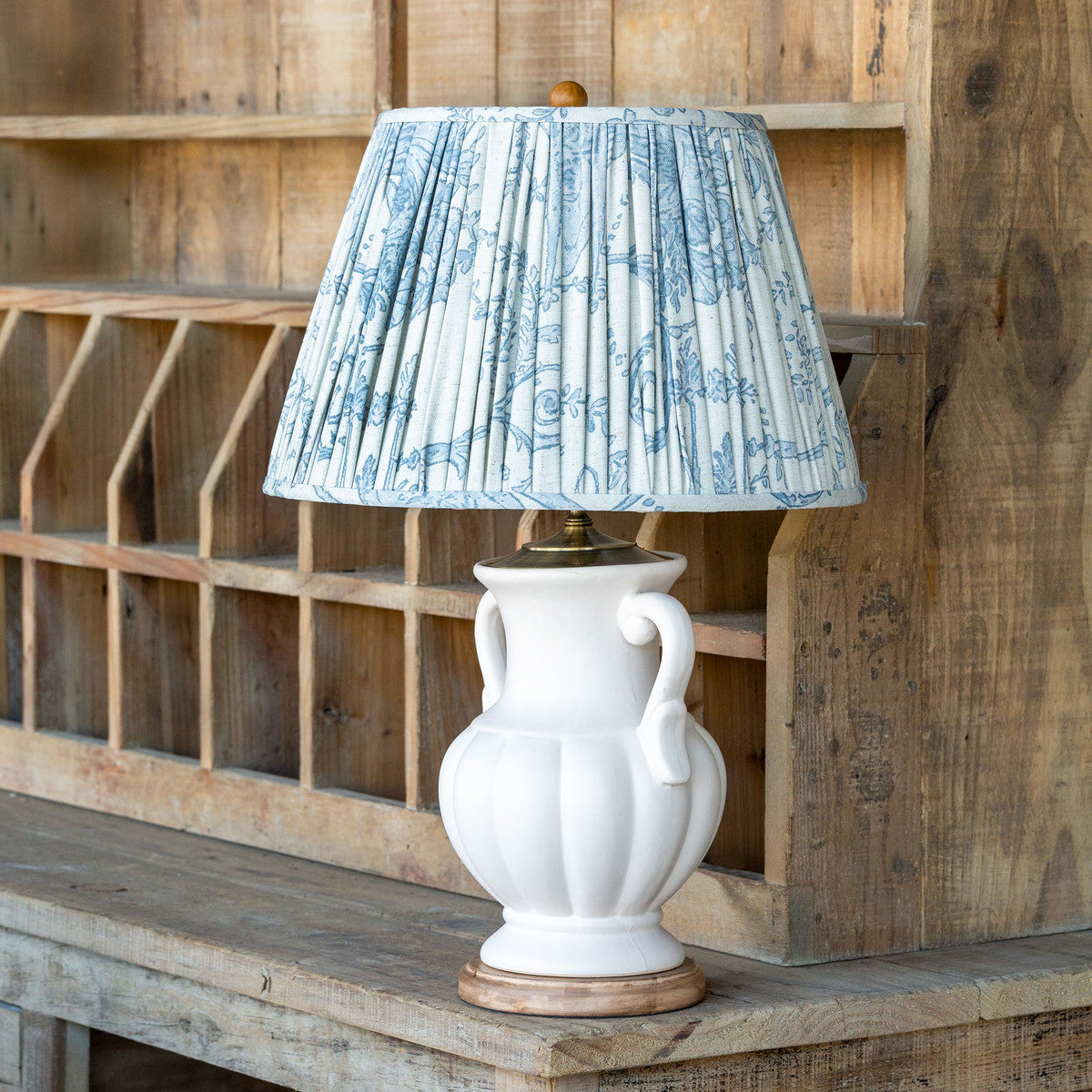 Lovecup Ceramic Table Lamp With French Blue Shade L129