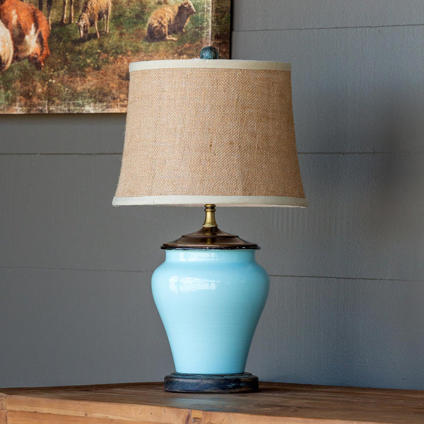 Lovecup Blue and Burlap Table Lamp L150