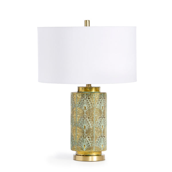 Lovecup Peacock Flair Pierced Metal Table Lamp L025