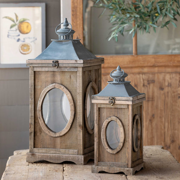 Lovecup Weathered Wood Lanterns, Set of 2 L501