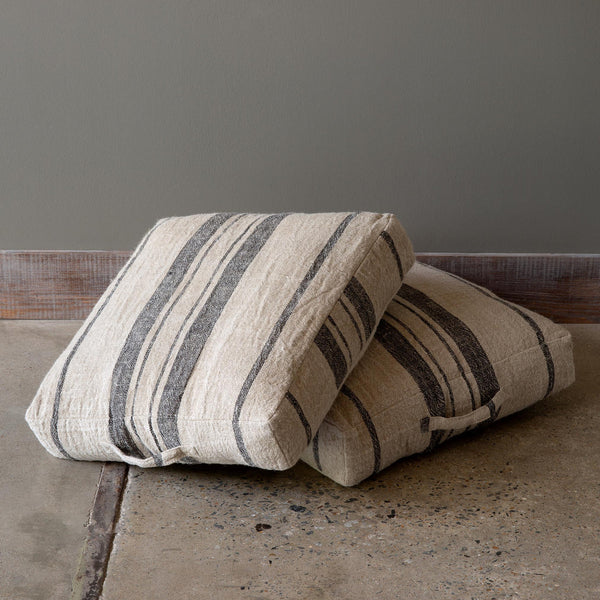 Lovecup Linen Floor Cushion in Natural Black, Set of 2 L167
