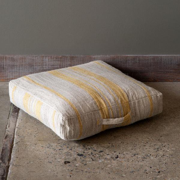 Lovecup Linen Floor Cushion in Natural Yellow, Set of 2 L169