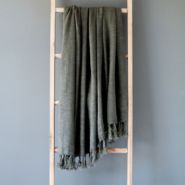 Lovecup Olive Green Washed Linen Throw L426