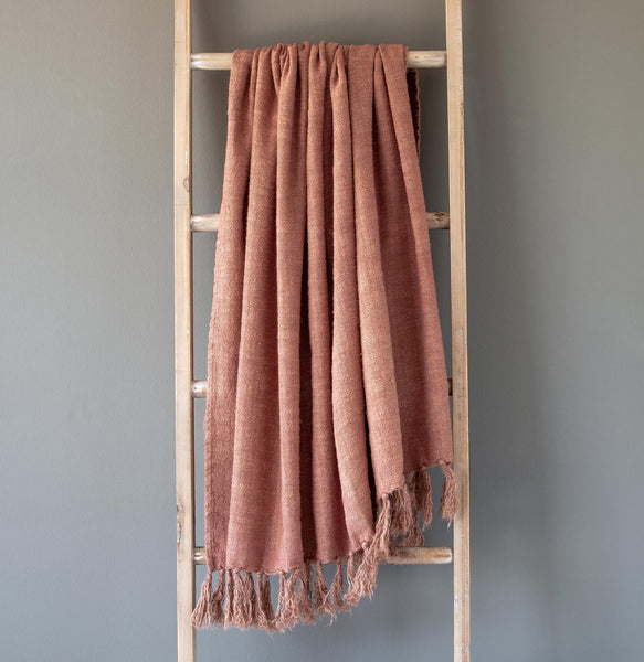Lovecup Coral Washed Linen Throw L427