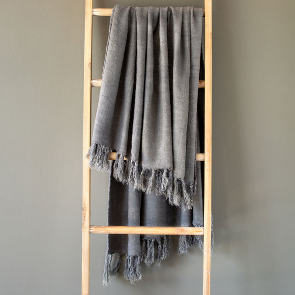 Lovecup Gray Washed Linen Throw L429