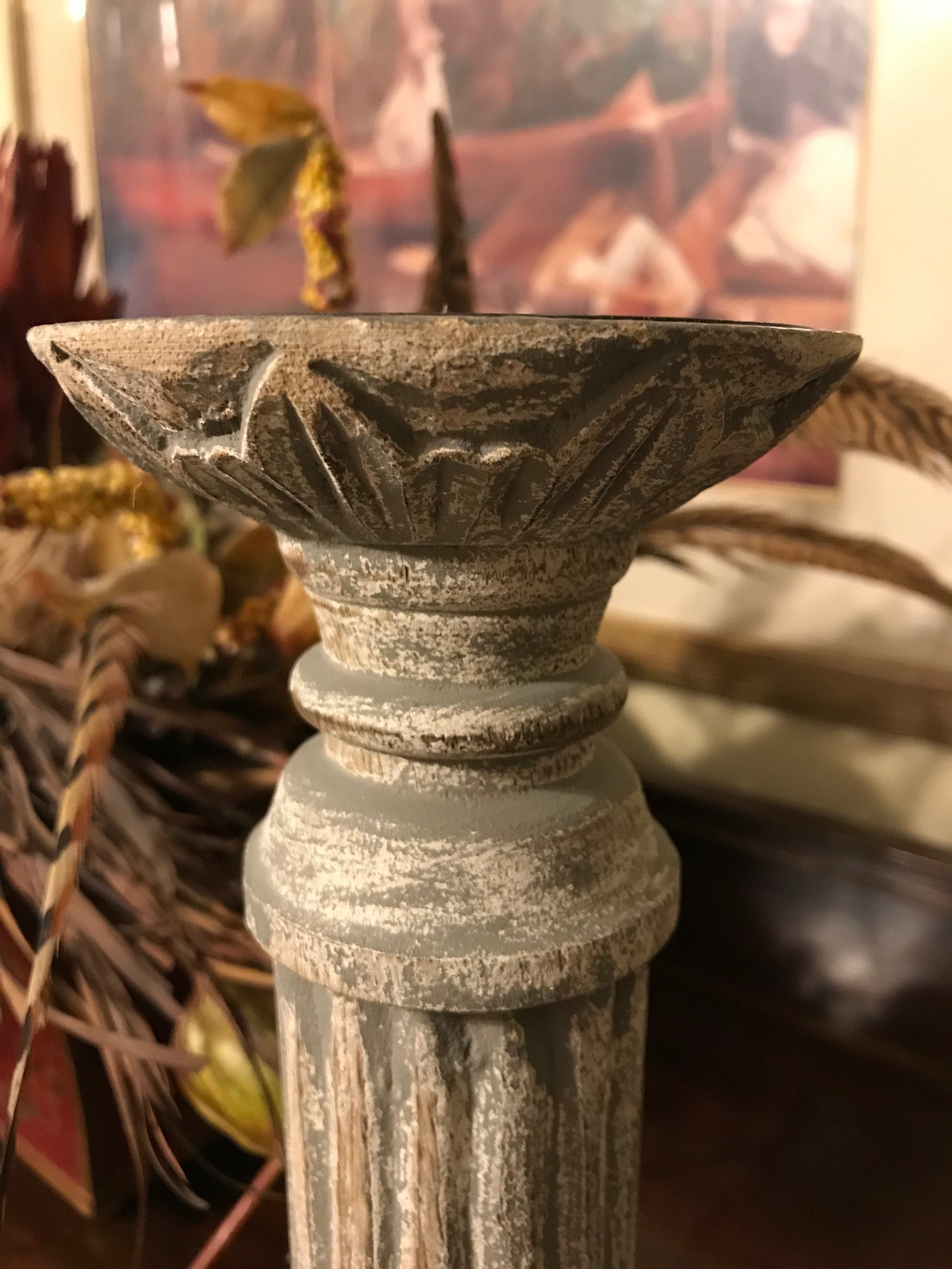 Lovecup Distressed Antique Gray Column Candlestick L119