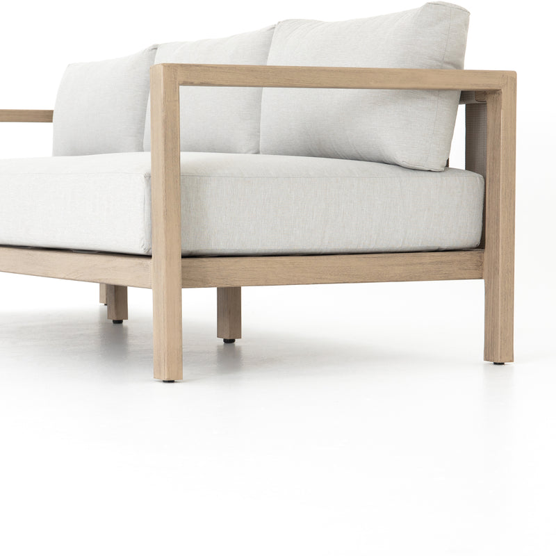 Lovecup Noma Outdoor Sofa with Stone Grey Fabric and Washed Brown Teak