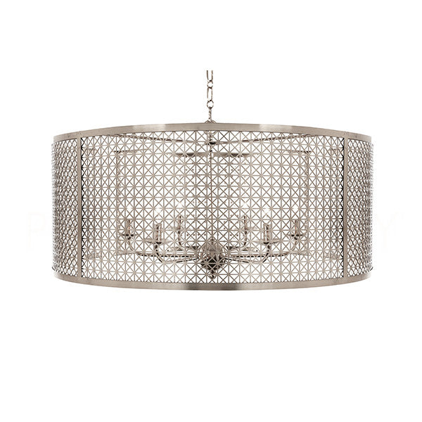 Aidan Gray Large Nickel Mod X Drum Chandelier L638L