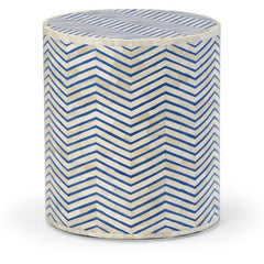 Blue Herringbone Pattern Side Table - LOVECUP - 1