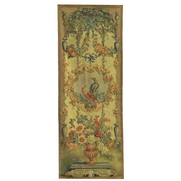 "26"" x 67"" Hand woven aubusson tapestry with backing and rod pocket."
