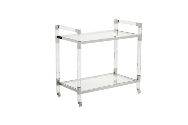 Chelsea House Acrylic Nickel Bar Cart 384791