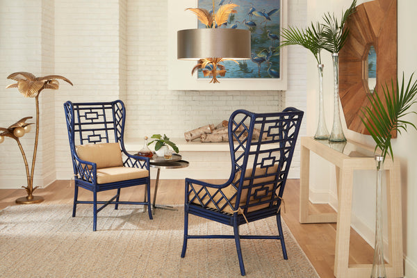 Lovecup Indigo Chinoiserie Wing Chair L373